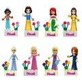 8 шт.  фигурки принцессы Белоснежки  Белоснежки  жасмин  Золушка  совместимы с lepining Friends