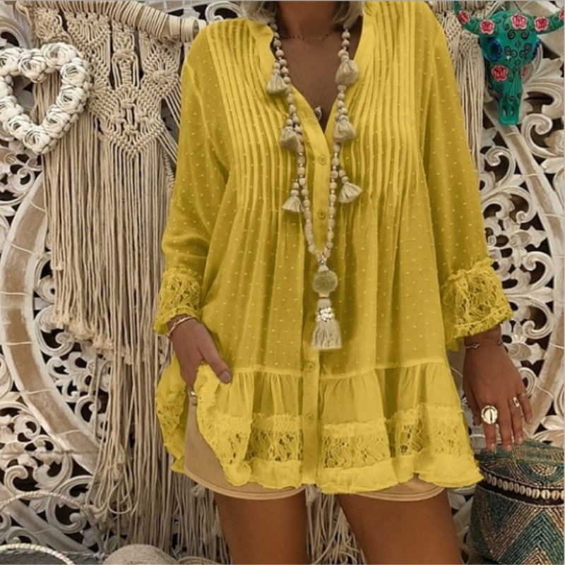 Spring Women Shirts 2019 Lace Chiffon V-Neck Tunic Blouse Shirt Autumn Long Sleeve Solid Loose Womens Tops And Blouses Plus Size