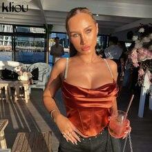 Kliou-camisola sedosa de cuello bajo para mujer, Top Sexy liso, Top corto con espalda al aire, camiseta sin mangas para mujer, chaleco básico elástico de cadena ostentosa para fiesta y discoteca