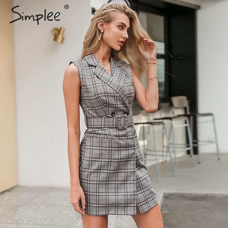 Simplee Elegant Sleeveless Office Dress Women Plaid Belt Lapel Spring Summer Dress Sexy Ladies Chic Casual Work Wear Short Dress