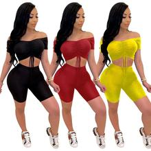 Summer 2 Piece Female Tracksuit Casual Women Two Piece Set Crop Top And Pants Biker Shorts Set Elastic Skinny Jogging Clothing streetwear two piece set women s costumes contrast color hooded crop top and skinny shorts female suits autumn sweatsuits zogaa