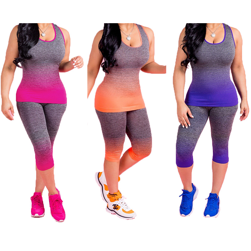 Hot Selling Europe And America-Crew Neck Gradient Color Printed Women's Two-Piece Set Capri Pants-S1046
