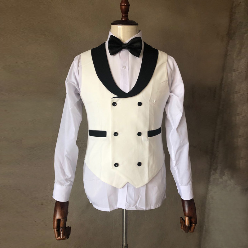 2020 Ivory Men Suits Vest Black Shawl Lapel Male Wedding Waistcoat Homme Double Breasted Formal Slim Fit Business Prom Party