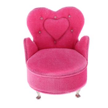 1 12 miniaturowy domek dla lalek fotel flanelowy Sofa ramię krzesło Mini lalki meble domowe kanapa różowe pudełko do przechowywania biżuterii w kształcie serca tanie i dobre opinie NoEnName_Null Tkaniny Dziewczyny 1 12 3 lat Symulacja pokoju meble