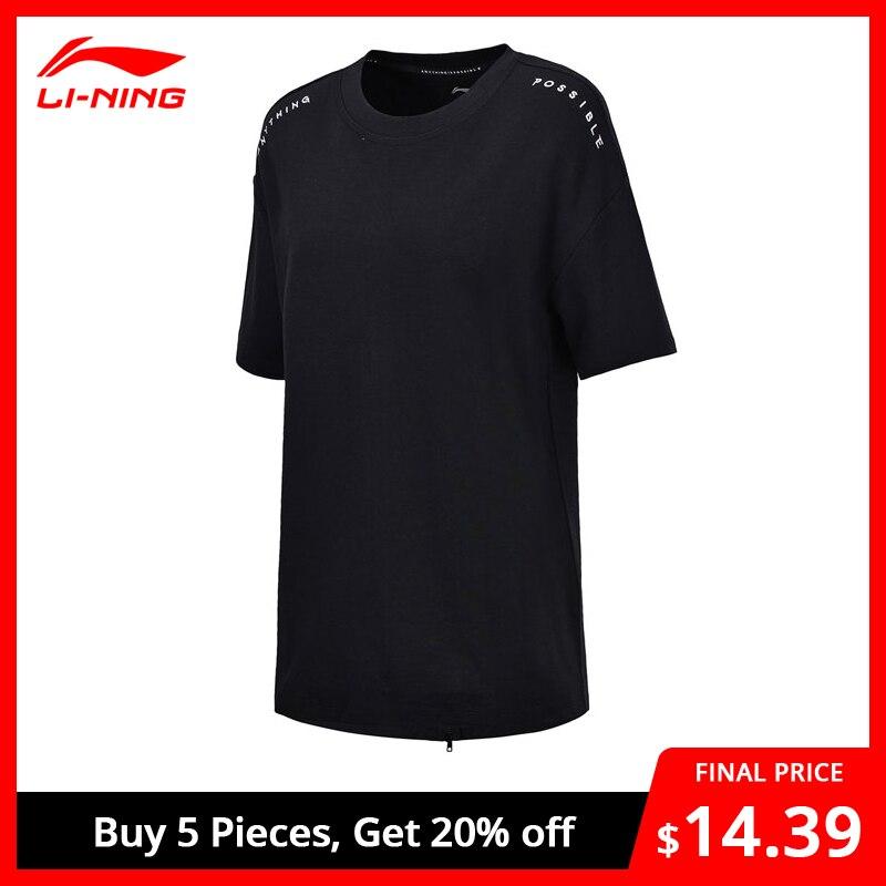 Li-Ning Women The Trend Knit T-Shirt 100% Cotton Loose Fit Comfort Breathable Li Ning LiNing Sport Tee Tops AWDN072 WTS1369