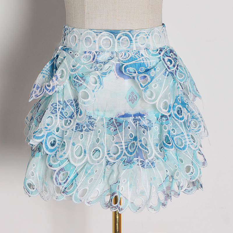 CHICEVER Korean Print Hit Color Skirt Female High Waist White Sashes Tunic Mini Skirts Women Fashion 2020 Spring New Clothes