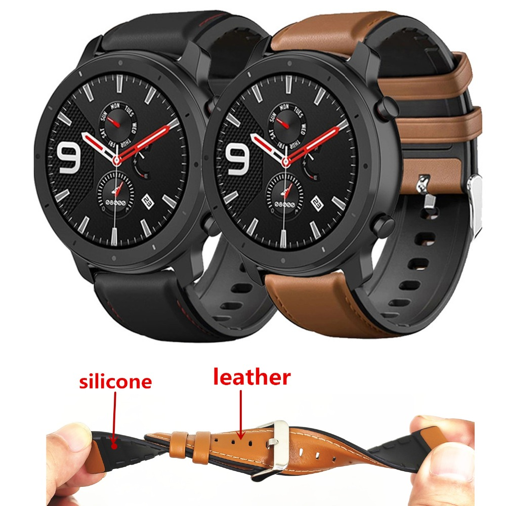Leather + Silicone Watchband For Amazfit GTR 47mm 42mm Bip/AMAZFIT Pace Stratos 2 2s 3 Strap Smart Watch Band Bracelet Correa