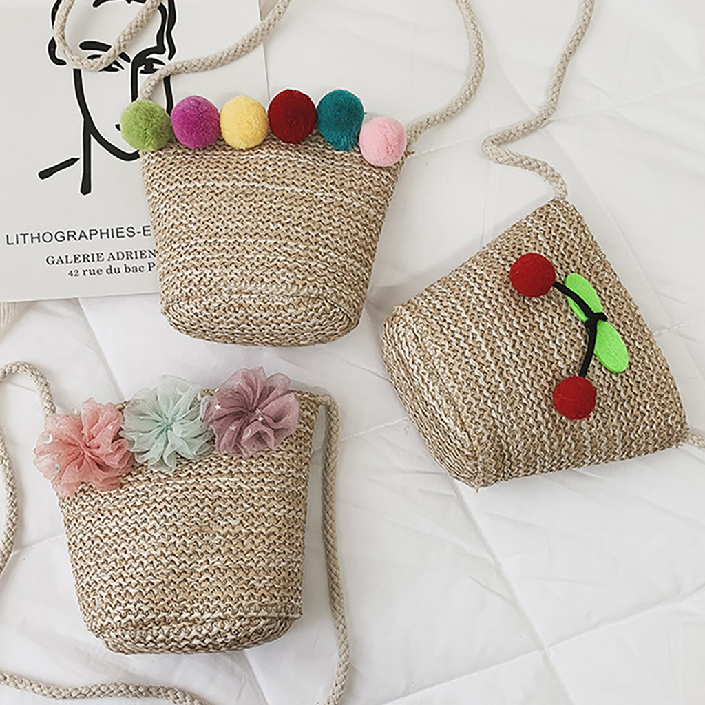 Fashion Children's Shoulder Messenger Weaving Bag Coin Purse Pack For Child