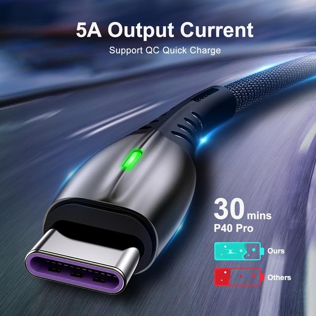 5A 2m kabel USB typu C szybkie ładowanie telefon komórkowy USB-C ładowarka type-c przewód danych dla iPhone 11 X Samsung S20 Xiaomi Redmi Huawei