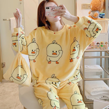 2019 New Winter Women Flannel Pajamas Set Cartoon Little Yel