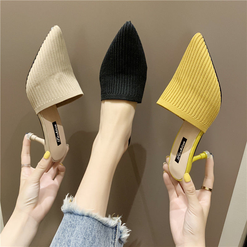 Ban Tuo Xie Female Students Outer Wear Baotou Summer Korean Version Of The Wild Tip Lazy High-Heeled Shoes Female Fine Sandals