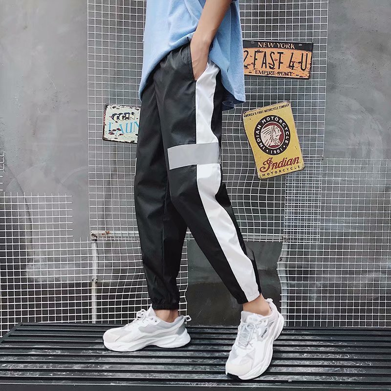 Summer INS Super Fire Reflective Pants Men And Women Popular Brand Casual Sports Ankle Banded Pants National Trends Cool Trend S