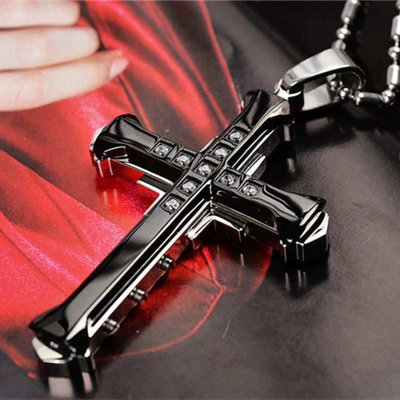 Colar pingente cruz de cristal de jesus, colar masculino dourado, prateado e preto, de cruz ms ms