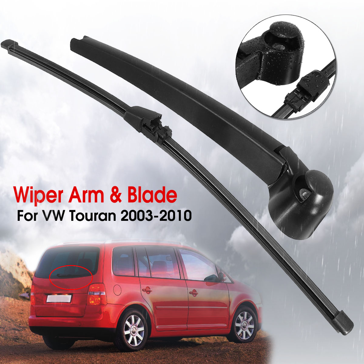 REAR WINDOW WIPER ARM AND BLADE SET FOR VW CADDY 3 III