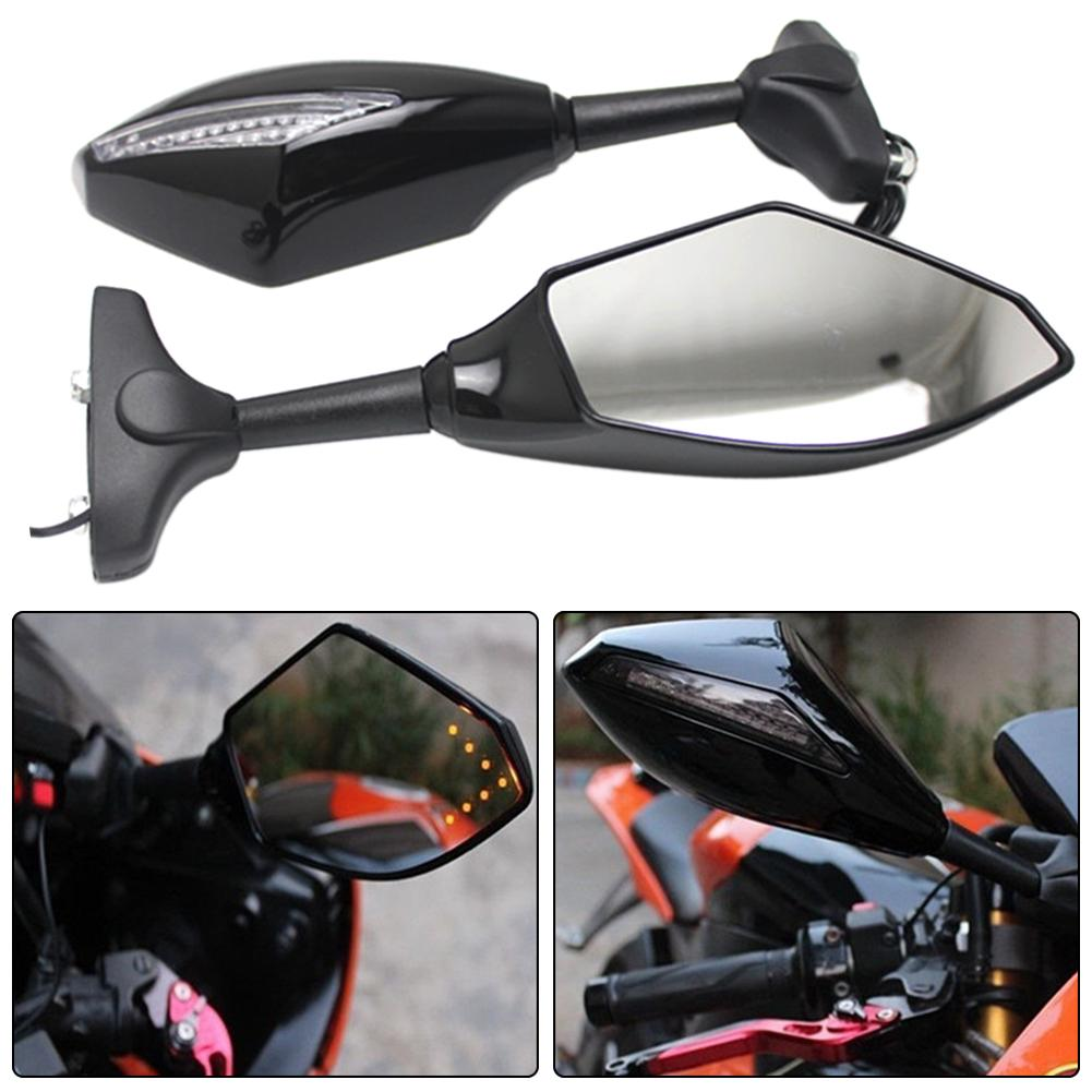 2Pcs Motorcycle Handlebar Mount Rearview Mirror With LED Turn Signal Lights 2019