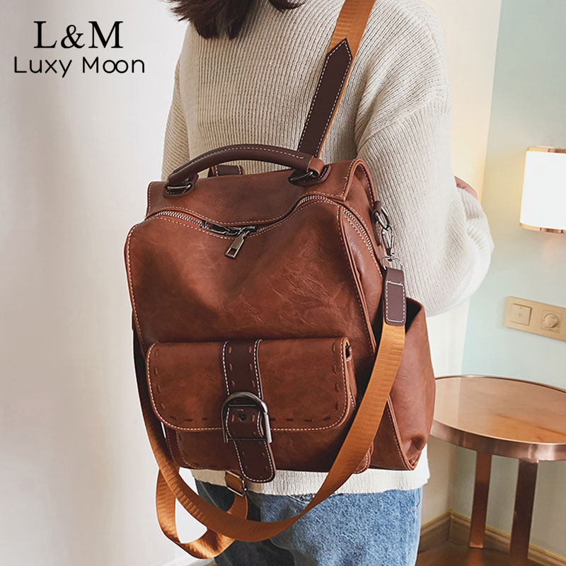 Fashion PU Leather Backpack For Women Multi-Function Brown Retro Backpack Female Ladies Shoulder Bag Girl Purse Mochilas XA623H
