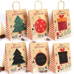 Image 3 - Joyeux noël cadeau sacs arbre de noël en plastique sac demballage flocon de neige noël boîte de bonbons nouvel an 2021 enfants faveurs sac Noel décor