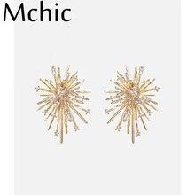 Mchic Exquisite Luxury Bling Zircon Plant Stud Earrings Charm Copper 14 k Plated Gold Earrings for Women Bijoux En Argent 925 цена