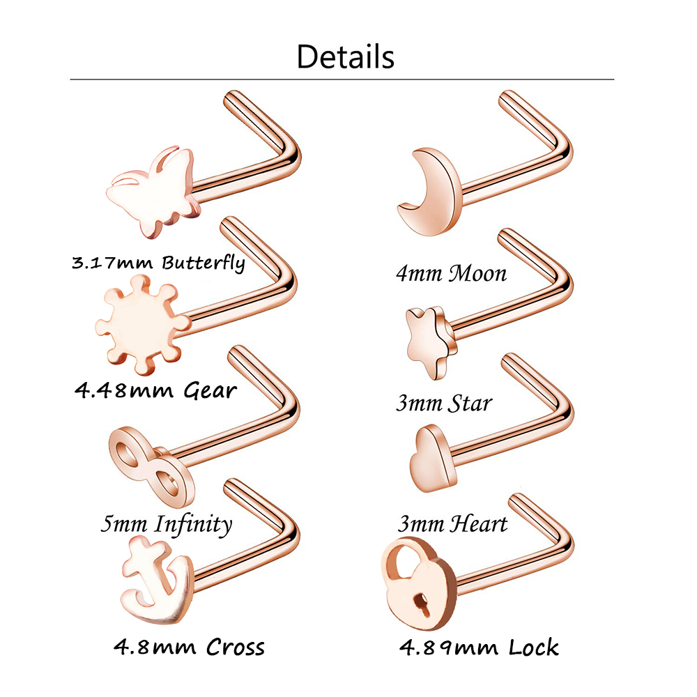 8pcs Stainless Steel Nose Ring Piercing Set Nose Stud Cartilage