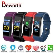 115 בתוספת Bluetooth צמיד קצב לב צג לחץ דם חכם להקת צמיד כושר Tracker Smartband עבור אנדרואיד IOS