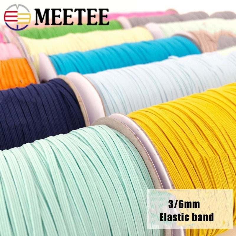 Meetee 10Meters 3/6mm Elastic Bands Rope Rubber Hair Band Ribbons Sewing Webbing Tapes Waist Shoes Belt DIY Garment Accessories