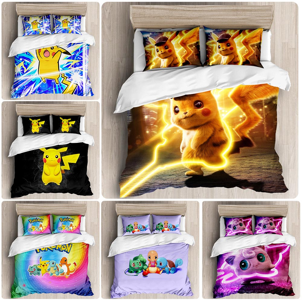 Hot Sale Pokemon Cartoon Pattern 3D Bedding Set Printed Duvet Cover Set Twin Full Queen King Size Dropshipping