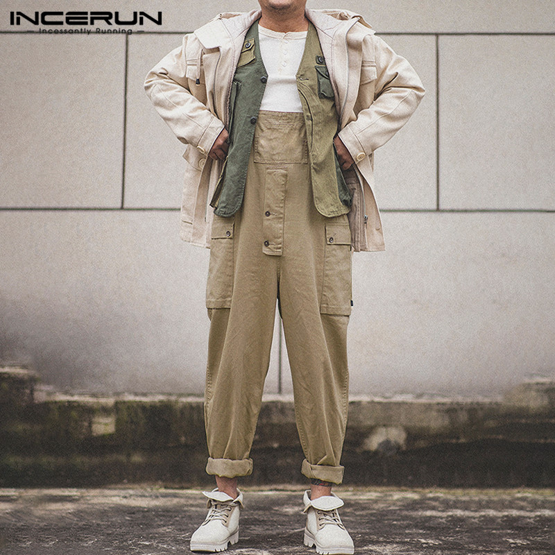 INCERUN Men Solid Color Casual Straight Leg Pants Fashion Joker Suspender Jumpsuit Streetwear Joggers Mens Rompers Overalls 2020