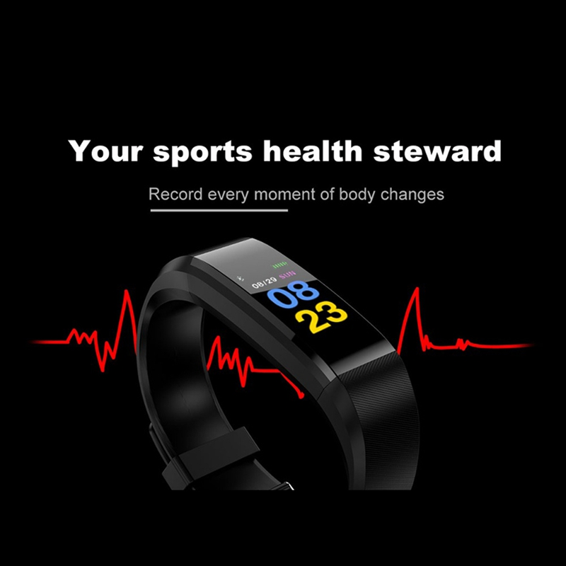Image 5 - 115 plus Smart Fitness Bracelet ip68 Waterproof Fitness Sport Tracker Wristbands Blood Pressure Measurement Heart Rate Monitor-in Smart Wristbands from Consumer Electronics