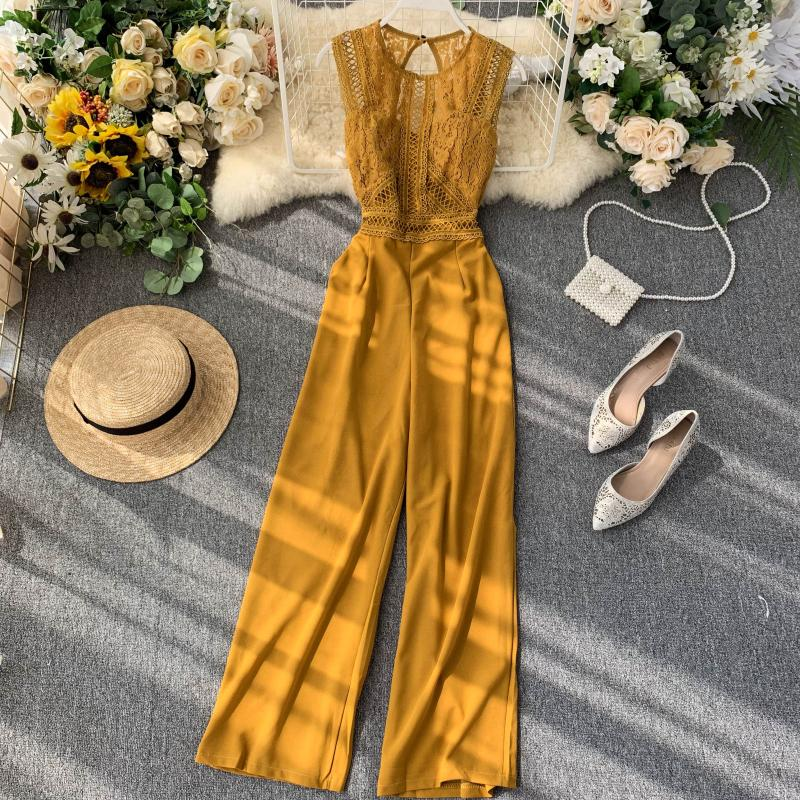 Summer Playsuits 2020 New Women Sleeveless Lace Patchwork Backless Pants Romper Overalls Women Jumpsuits Combishort Femme