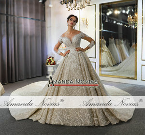 Image 5 - Mariage robe de mariee 2020 mangas compridas pesadas miçangas vestido de noiva de luxo