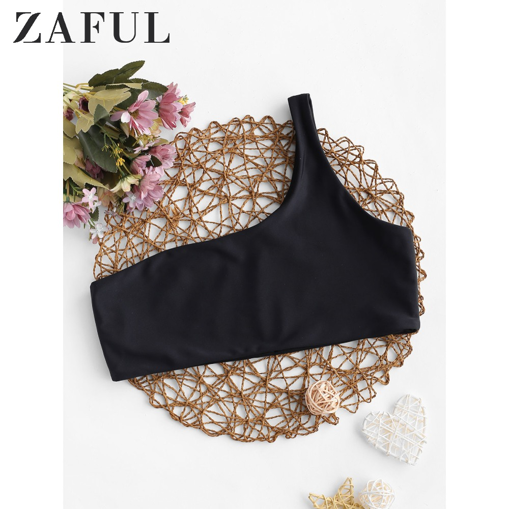 ZAFUL Solid No-Padding One Shoulder Bikini Top For Women 2020 Stylish Elastic Basic Swim Top Summer Solid Unlined Swimsuit Top