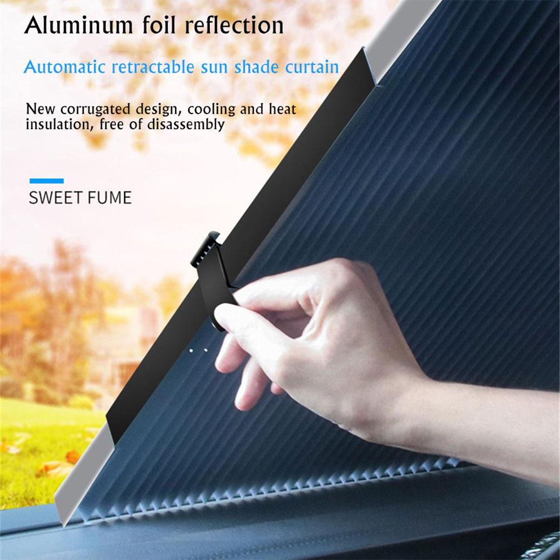 Parasol de coche, Protector de visera retráctil, plegable, cortina de visera frontal para parabrisas, cortinas protectoras UV frontal y trasera