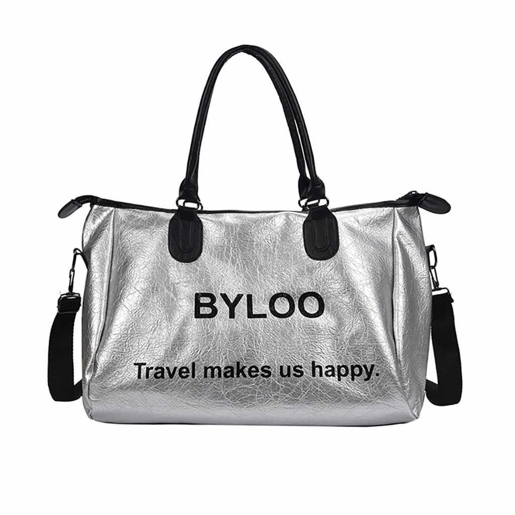 Yeni Gümüş Seyahat Spor Çantası Bayanlar Naylon Spor spor çanta Kadınlar Için Ayakkabı Açık Büyük spor çantası 2019 Omuz Eğitim Yoga Çantaları