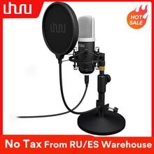 UHURU micrófono USB UM910, condensador de 192 kHz/24 bits, Podcast, Plug & Play, micrófono para ordenador, videojuegos, Youtube, grabación de voz