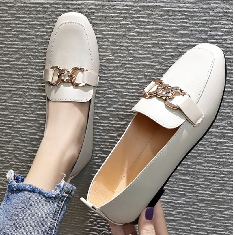 €6.53 50% СКИДКА|Новые весенние Модные женские туфли на плоской подошве Лакированная кожа Повседневное с металлической пряжкой, квадратный носок; водонепроницаемые мокасины; женские офисные туфли|Обувь без каблука| |  - AliExpress
