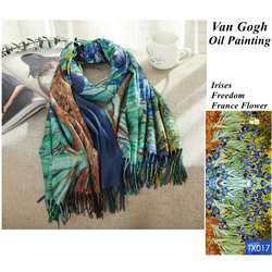 Designer France Irises Print Cashmere Scarf Women Van Gogh Oil Painting Pashmina Shawl Winter Luxury Brand Stole Plus Size 200cm