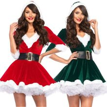 HIRIGIN Miss Claus Dress Suit Ladies Stage Performance Theme Party Cosplay Santa Outfit Santa Sweetie Costume Hooded for Women