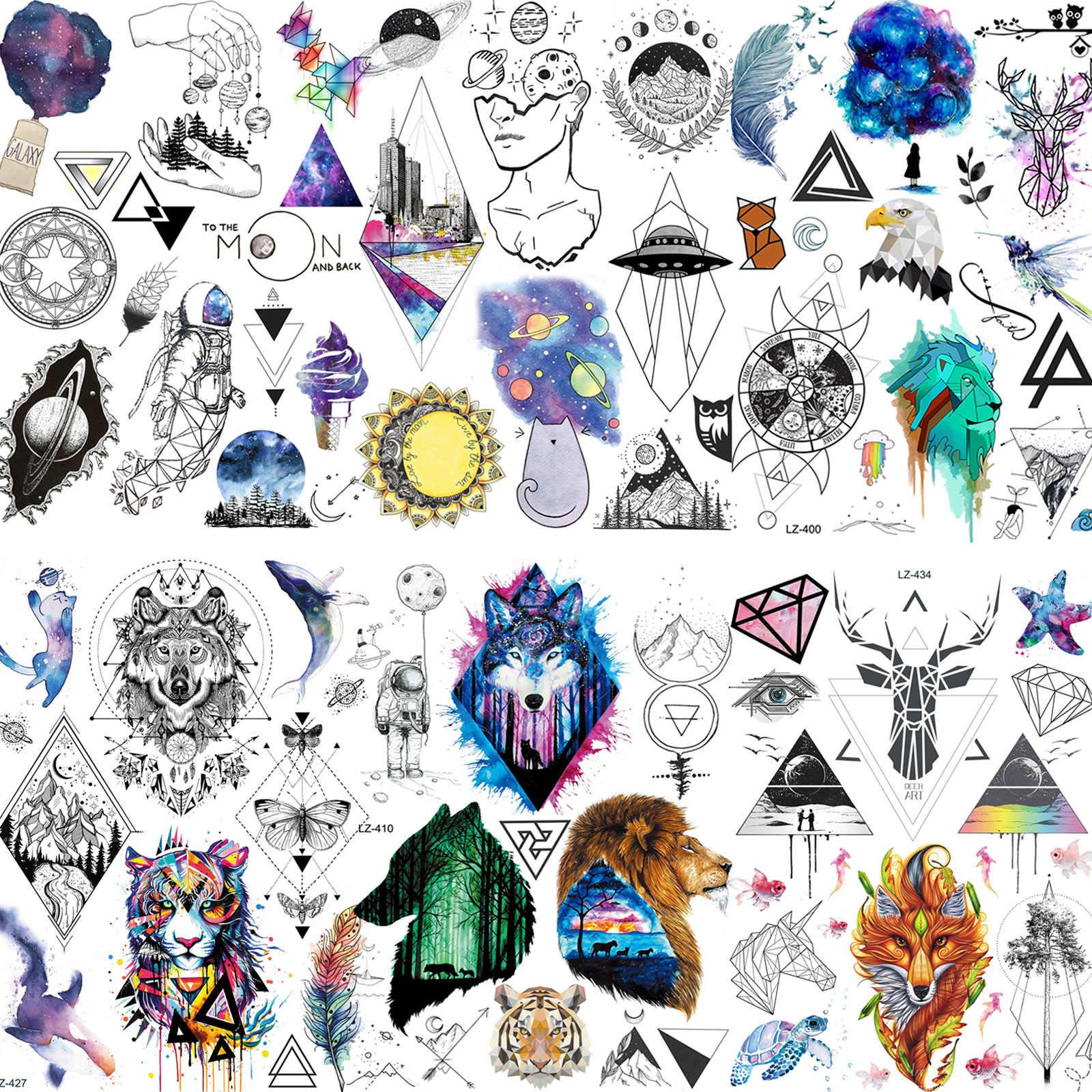 Suluboya uzay geçici dövmeler çocuklar kadınlar için erkekler yüz eller dövmeler macun gerçekçi sahte geometrik kurt çiçek dövme erkekler için