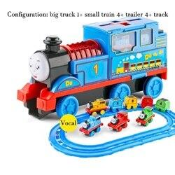 Большая инерция Томас слайд маленький паровоз детская музыкальная игрушка модель сплава комбинация LINTINGHAN игрушка оптом