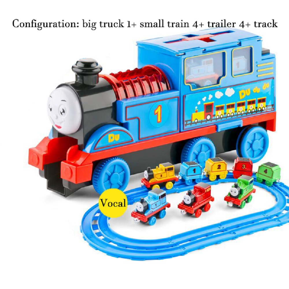 LINTINGHAN Wholesale Alloy Track Small Train Alloy Combination Storage Car Children Sound And Light Toy Cartoon Car Toy