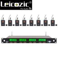 Leicozic 8 قناة ميكروفون لاسلكي ميكروفون مهني نظام Lavalier مايكروفونو التلبيب ميكروفون ديناميكي 633-784Mhz