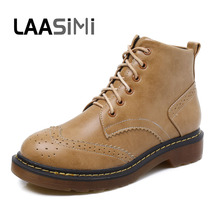 LAASIMI Women Boots Fashion Gray Brogue Martin Shoes Woman Autumn Winter Lace-up Platform Warm Rubber Female