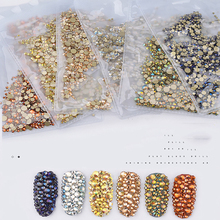 1440pcs/pack Nails Art Glass Flatback Rhinestones AB Crystals Strass Charms For Manicure DIY Tools Nail Mixed-size