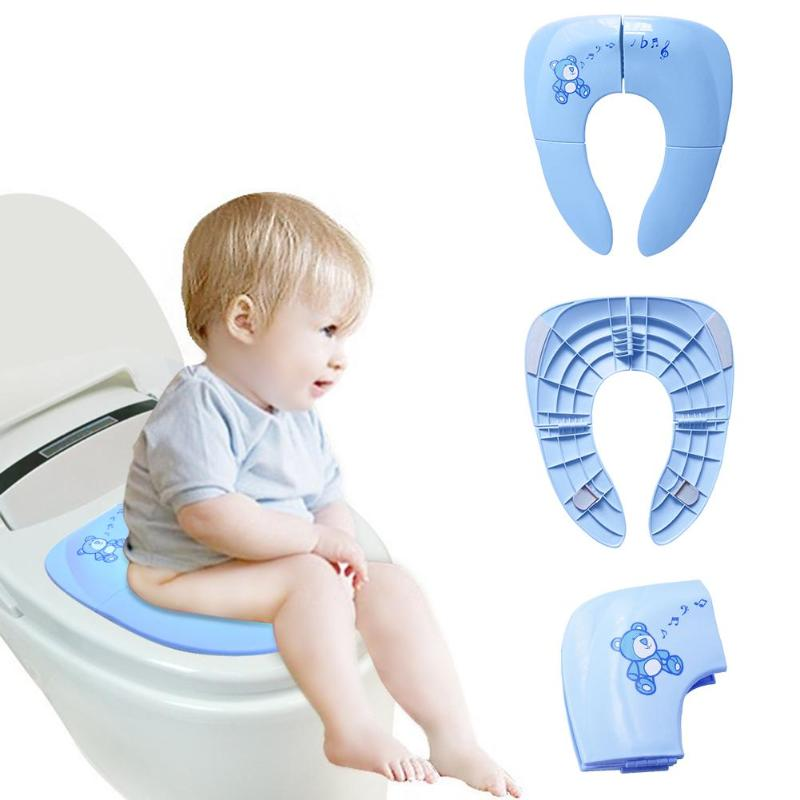 Potty Training Toilet Seat Toddler Travel Portable Foldable Easy Clean Comfort Safety With Handbag Cover Non Slip Pads