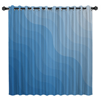 Gradient Blue Wave Window Curtains Dark Living Room Curtain Rod Bathroom Curtains Outdoor Indoor Decor Kids Curtain Panels With