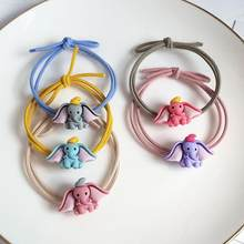 Cute Ins Web Celebrity Rubber Band Girl Student Children Hair Band Hair Accessories Dumbo Head Rope Fairy Leather Cover Jewelry(China)