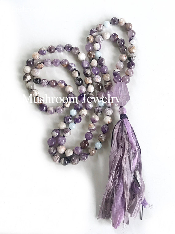 Hand Knotted Agates Beaded Necklace With Hand Made Purple Crystal Nugget Bead <font><b>Sari</b></font> <font><b>Silk</b></font> <font><b>Tassel</b></font> Necklace image