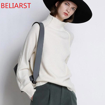 BELIARST Sweater Women Thickened Pullover Loose 100% Pure Wool 1