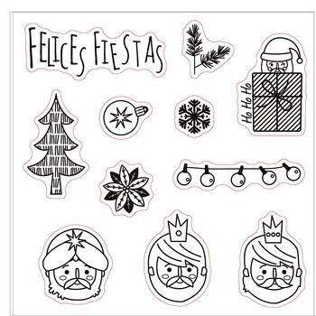 Felices fiestas transparent clear stamp for DIY Scrapbooking/Card Making/Kids Christmas Fun Decoration Supplies image