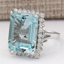 Natürliche Aquamarin Edelstein Bizuteria S925 Sterling Silber farbe Ring für Frauen Silber 925 Schmuck Platz Unsichtbare Einstellung Ring
